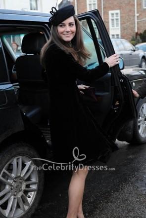 Kate Middleton ダイヤモンドバックル付きブラックコート