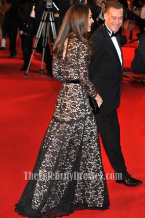 Kate Middleton ケイトミドルトンブラックレースフォーマルドレスウォーホースプレミア