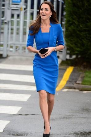 Kate Middleton Elegant Knee Length Blue Cocktail Dresses
