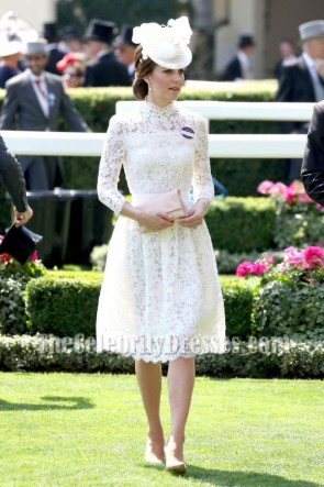 Kate Middleton White Cocktail Dress With Long Sleeves Royal Ascot 2017