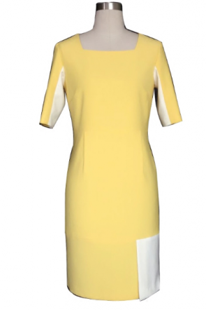 ケイト・ミドルトンイエロースクエアネック半袖ファッションドレス公爵夫人のケンブリッジリサイクル