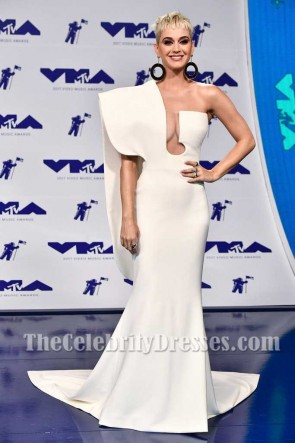 Katy Perry Ivory One-shoulder Structured Evening Prom Dress 2017 MTV Video Music Awards