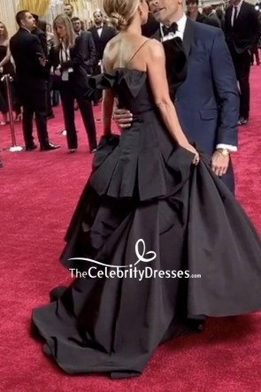 Kelly Ripa Black One-shoulder Ball Gown 2020 Oscars Red Carpet TCD8852
