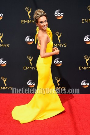 Keltie Knight ケルティナイトイエローワンショルダーイブニングウエディングドレス第68回Primetime Emmy Awards