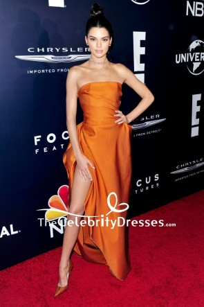 Kendall Jenner Orange Strapless Evening Formal Dress 2017 Golden Globes Afterparty