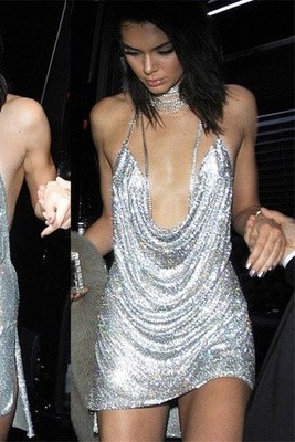 Kendall Jenner Silver Sexy Low V-neck Sequins Cocktail Dress