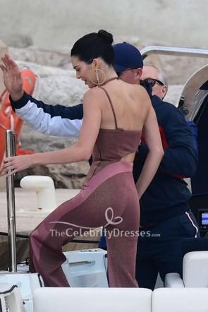 Kendall Jenner Sleeveless Halter Cut Out Jumpsuit