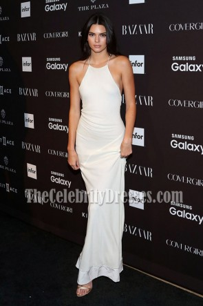 KENDALL JENNER WHITE BACKLESS EVENING PROM DRESS HARPER'S BAZAAR PARTY 1