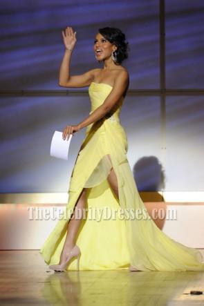 Kerry Washington 黄色のストラップレスのドレスグラマーの2011年女性賞オブレッドカーペット
