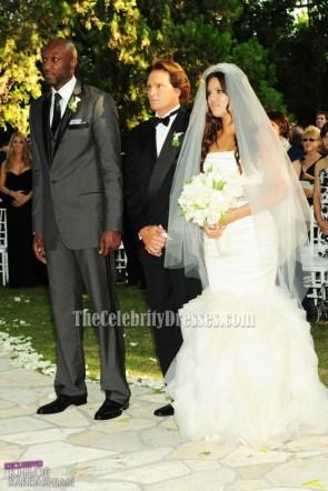 セレブウェディング Khloe Kardashian そして Lamar Odom 人魚のウェディングドレスの花嫁衣装