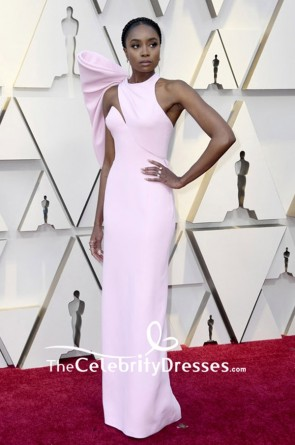 Kiki Layne Pink Open Back Long Evening Dress 2019 Vanity Fair Oscar party