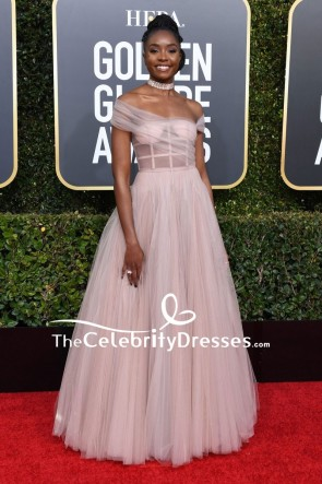 Kiki Layne Off-the-shoulder Corset Ball Gown Golden Globes 2019 Red Carpet