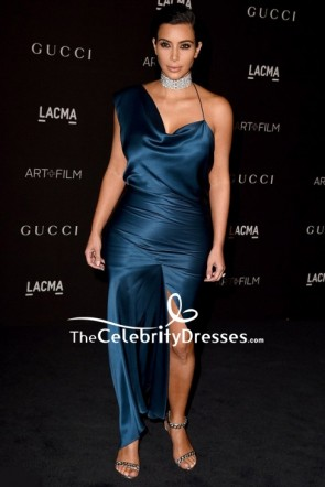 Kim Kardashian Ink Blue Cocktail Dress LACMA Art + Film Gala