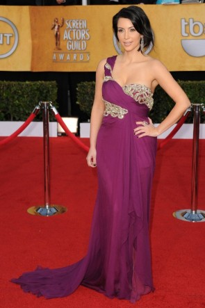 Kim Kardashian Purple One Shoulder Dress 17th Annual Screen Actors Guild Awards Red Carpet