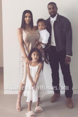 Kim Kardashian Spaghetti Straps Slip Evening Party Dress Easter Of 2017