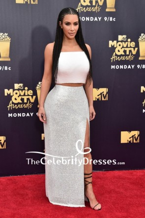 Kim Kardashian White And Silver Two Pieces Maxi Dress 2018 MTV Movie And TV Awards