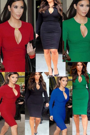 Kim Kardashian Mini Dress Long Sleeve Cocktail Bodycon Knee Length Dress TCDHC0004