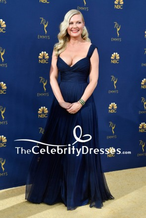 Kirsten Dunst Navy Pleated A-line Evening Dress 2018 Emmys
