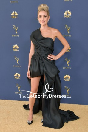 Kristin Cavallari in a black one-shoulder high low gown attends the 70th Emmy Awards at Microsoft Theater on September 17, 2018 in Los Angeles, California.