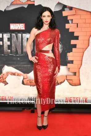 Krysten Ritter Dark Red Sequins Cut Out Sheath One-shoulder Party Dress New York Premiere Of The Defenders
