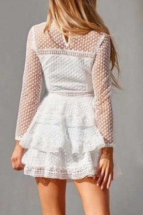 Lace Cutout Layered Short Dress