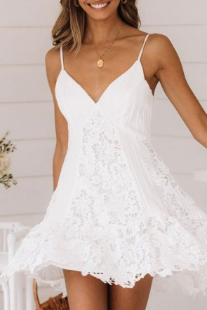 White Lace Spaghetti Straps Dress