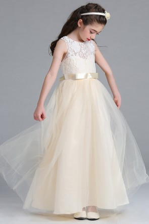 Lace Tulle Patchwork Junior Bridesmaid Dress