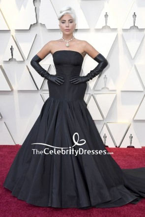 Lady Gaga Black Strapless Ball Gown 2019 Oscars Red Carpet