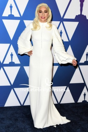 Lady Gaga Ivory Column Evening Dress With Long Sleeves Oscar nominees luncheon