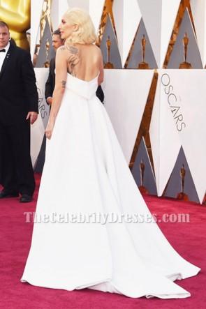 Lady Gaga レディー・ガガ アイボリーのストラップレスの背中が大きく開いフォーマルジャンプスーツのイブニングドレスオスカー2016