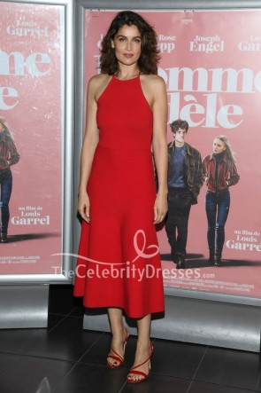 Laetitia Casta Red Halter Cocktail Dress Paris Premiere Of L'Homme Fidele