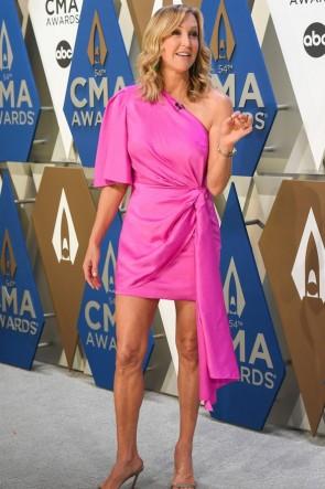 Lara Spencer One-shoulder Hot Pink Cocktail Dress 2020 CMA Awards
