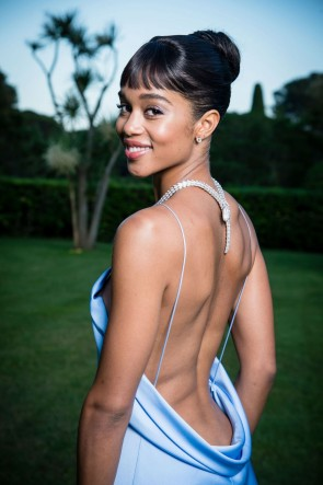 Laura Harrier Sky Blue Backless Evening Dress amfAR Gala Cannes 2018 TCD8007