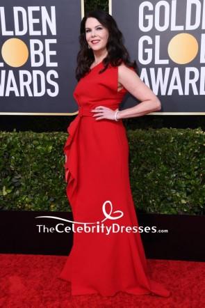 Lauren Graham Red One-shoulder Evening Dress 2020 Golden Globes TCD8811