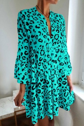 Leopard V-neck Ruffled Dress