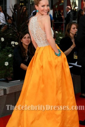 Leslie Mann レスリーマンイエロービーズのフォーマルドレス2012エミー賞レッドカーペット