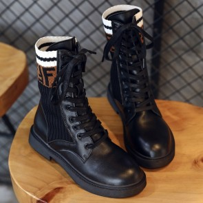 Letter Print Black Round Toe Combat Boots With Lace-up