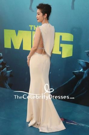 メグのマーメイドビーズのイブニングドレス初演を李ビンビンダークアイボリーをカット