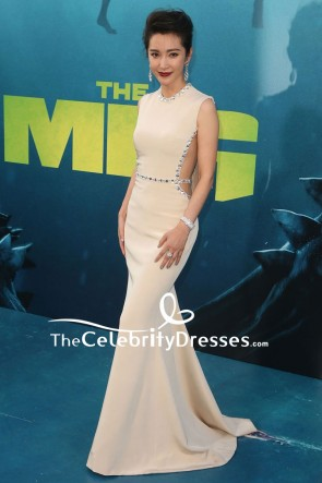 Li Bingbing Nude Cut Out Mermaid Beaded Evening Dress premiere of The Meg