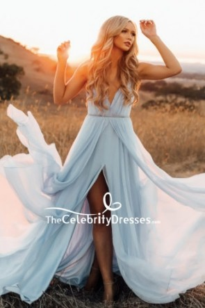 Light Sky Blue V-neck Spaghetti Straps Prom Dress