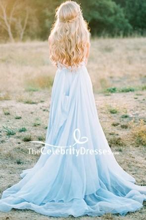 Light Sky Blue V-neck Spaghetti Straps Prom Dress TCDFD8229