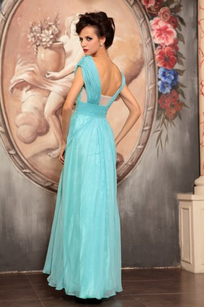 Light Sky Blue Beaded Formal Dress Evening Prom Gown