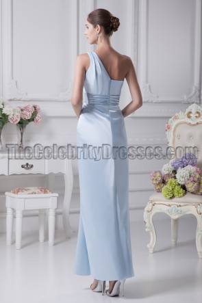 Light Sky Blue One Shoulder Bridesmaid Prom Dresses