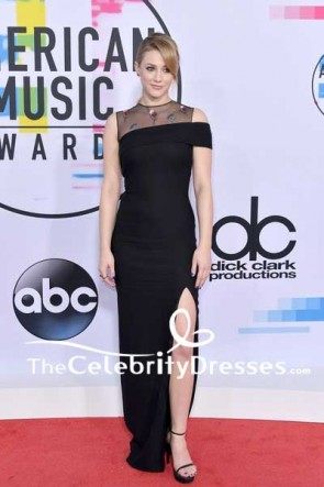 Lili Reinhart Black Floral Form-Fitting Thigh-high Slit Evening Dress 2017 American Music Awards Red Carpet