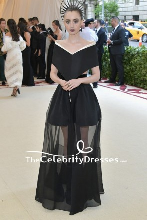 Lily Collins Black Two Pieces Off-the-shoulder Evening Formal Dress 2018 MET Gala
