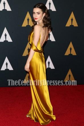 Lily Collins リリーコリンズ ゴールド非対称スパゲッティストラップのイブニングドレス第8回総督賞