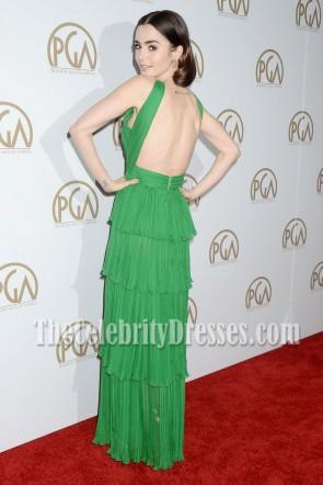 リリーコリンズグリーンシフォンカットアウトイブニングドレス第28回年次生産者背中の開いたギルド賞ウエディングドレス