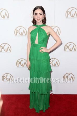 Lily Collins Green Chiffon Cutout Backless Evening Dress 28th Annual Producers Guild Awards Prom Gown