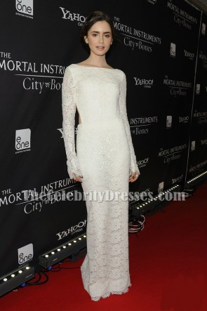 Lily Collins White Lace Backless Evening Prom Dress The Mortal Instruments Premiere
