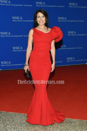 Lisa Edelstein Red Mermaid  Sexy Evening Prom Gown 2016 White House Correspondents' Association Dinner  3